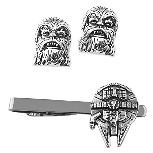 Outlander Chewbacca Cufflink & Millenium Falcon Tiebar - New 2018 Star Wars Movies - Set of 2 Wedding Logo w/Gift Box by Outlander