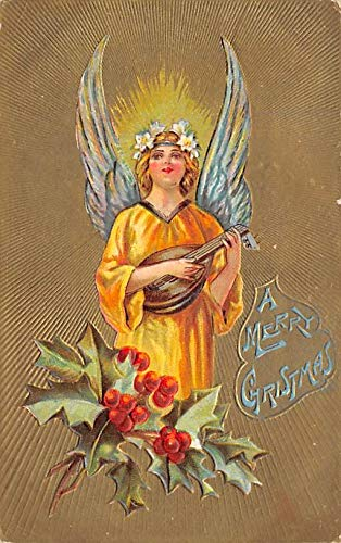 Christmas Postcard Antique Xmas Post Card Angel Postal used unknown (Angel Postcard Christmas)