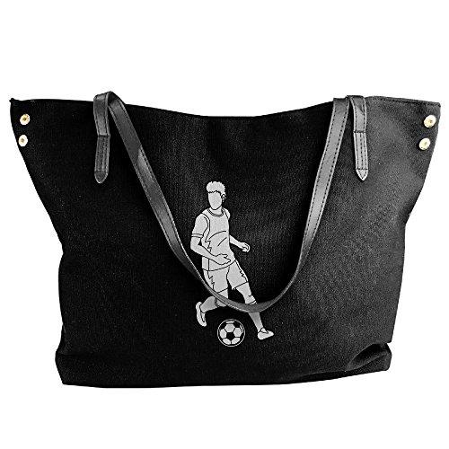 Soccer Tote Canvas Messenger With Bags Women's Handbag Player Shoulder Running Black Large Soccer Ball qEgwBX