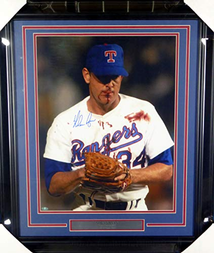 Nolan Ryan Autographed Framed 16x20 Photo Texas Rangers Bloody NR Holo Stock -