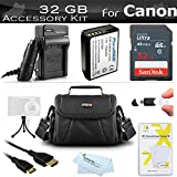 32GB Accessories Bundle Kit For Canon EOS Rebel T5, T3, Canon EOS Rebel T6 DSLR Camera Includes 32GB High Speed SD Class 10 Memory Card + Replacement LP-E10 Battery + Ac/Dc Charger + Case + More