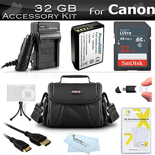 32GB Accessories Bundle Kit For Canon EOS Rebel T5, T3, Canon EOS Rebel T6 DSLR Camera Includes 32GB High Speed SD Class 10 Memory Card + Replacement LP-E10 Battery + Ac/Dc Charger + Case + More by ButterflyPhoto