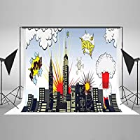7x5ft Cotton Polyester Super Hero City Kids Birthday Party Decorations Photography Background Seamless No Creases Folding and Washable Photo Booth Backdrops