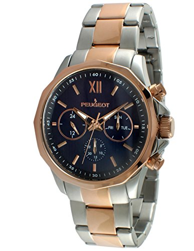 (Peugeot Men's 1046TBL Stainless Steel Two-Tone Rose Gold Multi-Function Calendar Two-Tone)