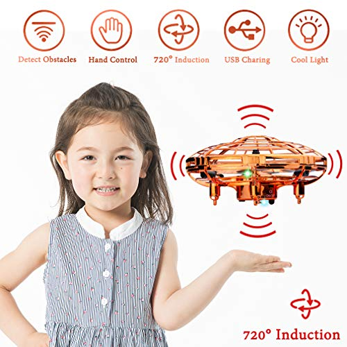 WEW Flying Toy, Easy Indoor Mini Drone Helicopter, 720°Infrared Induction 360° Rotating Hand Controlled Drone for Kids Adults Teenager Hone Office- Gold