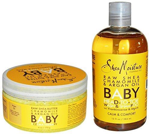 Shea Moisture Raw Shea Chamomile and Argan Oil Baby Head to Toe Wash & Shampoo and Baby Eczema Therapy by Shea Moisture