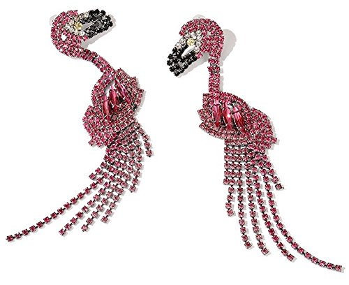 MISASHA Womens Pink Flamingo Rhinestone Large Statement Dangle Drop Earrings