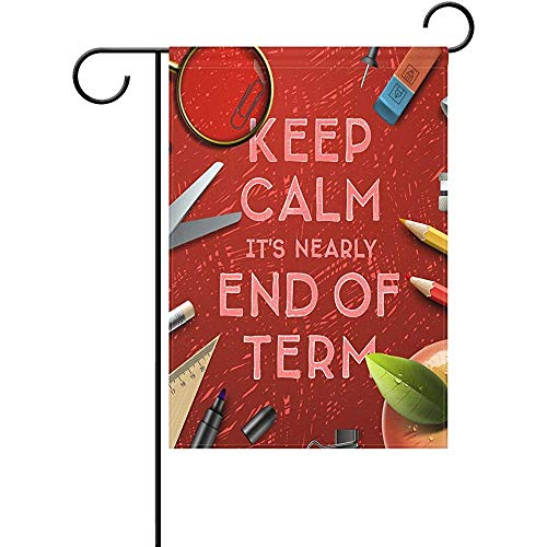 Duble Sided School Class of 2017 Celebration Nearly End of Term Rest Happy Holiday Funny Study Stationery Polyester Garden Flag 12 X 18 Inches, Decorative Yard Flag for Party Home -