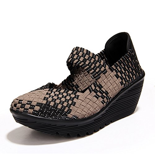 HKR Women Closed Peep Toe Woven Platform Wedges Mary Jane Sandals Comfort Weave Shoes Grey