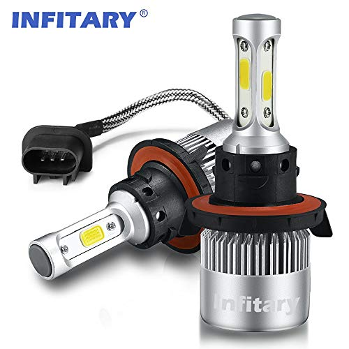 INFITARY H13 LED Headlight Bulbs Conversion Kits High/Low Beam Auto Headlamp Dual Beam Car Headlight 72W 6500K Cool White 8000LM Extremely Super Bright COB Chips (Sliver, H13/9008)