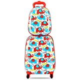 Custpromo 2 pcs ABS Kids Suitcase Lightweight Backpack Luggage Set 16'' Carry On Luggage with Spinner Wheels and 12'' Backpacks Set for 2, 3, 4 year olds (Elephant)