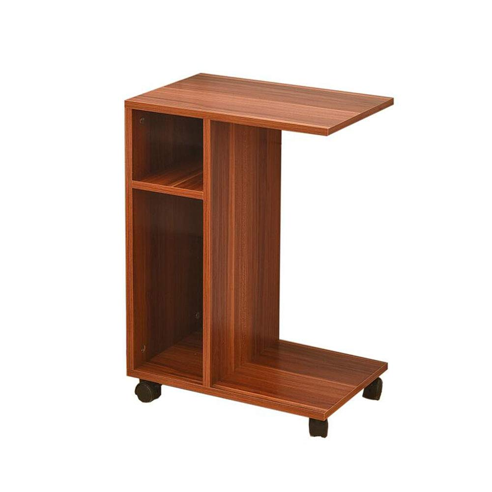 ZfgG Mobile Sofa Side Table Laptop Desk with Storage Shelf Living Room Balcony Wooden Coffee End Table with Wheels