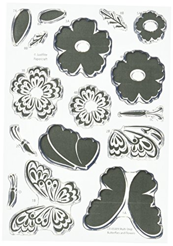"""Justrite Papercraft CR-05009 Clear Stamps, 4"""" x 6"""", Multi..."""