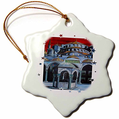 Sultan Mosque Ahmed (3dRose orn_78738_1 Picturing Sultan Ahmed Mosque Snowflake Porcelain Ornament, 3-Inch)