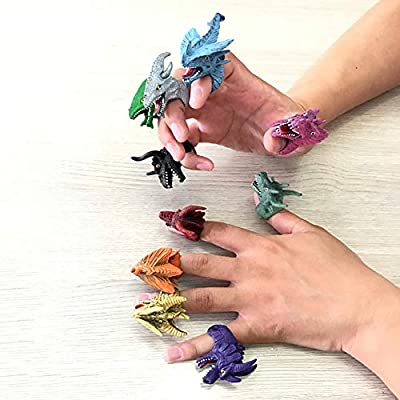 carduran 5Pcs Simulation Dinosaur Finger Ring Trick Party Props Interactive Toy Kids Toys Gift Silver Random Style: Toys & Games
