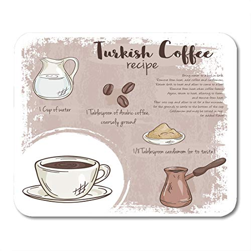 Nakamela Mouse Pads Bar Cup of Turkish Coffee Recipe with List Ingredients Food Bean Mouse mats 9.5