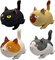 Portable Mini Cat Soft Rubber Anti-Stress Gadget Miniature Novelty Toy Screaming Cat Realistic Animal Toy Squi