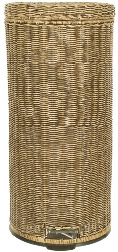 Lamont Home Handcrafted Rattan 30-Liter Step Can Trash/Recycling Bin, Honey