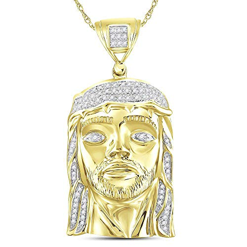 - Dazzlingrock Collection Yellow-tone Sterling Silver Mens Round Diamond Jesus Face Christ Charm Pendant 1/4 Cttw