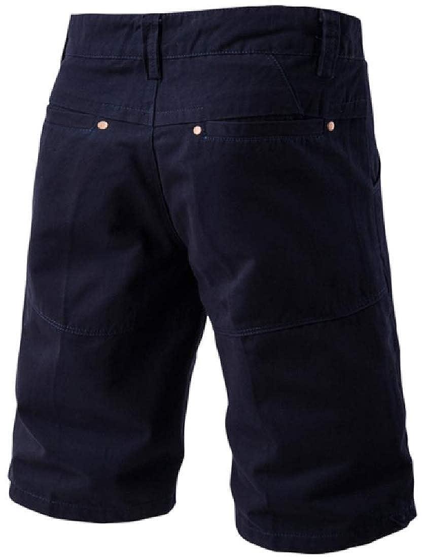 Hajotrawa Mens Mid Waist Cargo Straight Leg Stylish Bermuda Short Pants