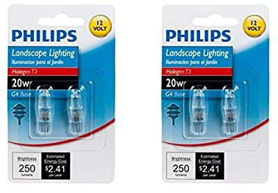 Philips 417204 Landscape Lighting 20-Watt T3 12-Volt Bi-Pin Base Light Bulb, 2 x 2 Pack