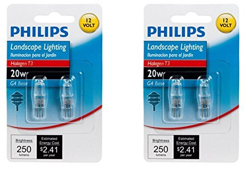 Philips 417204 Landscape Lighting 20-Watt T3 12-Volt Bi-Pin Base Light Bulb, 2 x 2 Pack -