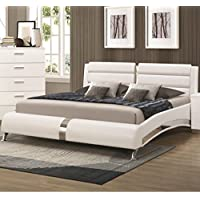 Coaster 300345KW White California King Size Bed With Metallic Accents