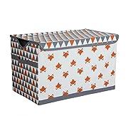 Bacati Playful Foxs Storage Toy Chest, Orange/Grey