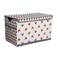 Bacati Playful Foxs Storage Toy Chest, Orange/Grey