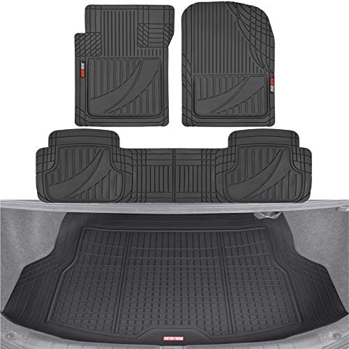 Motor Trend FlexTough Advanced Black Rubber Car Floor Mats with Cargo Liner Full Set – Front & Rear Combo Trim to Fit Floor Mats for Cars Truck Van SUV, All Weather Automotive Floor Liners