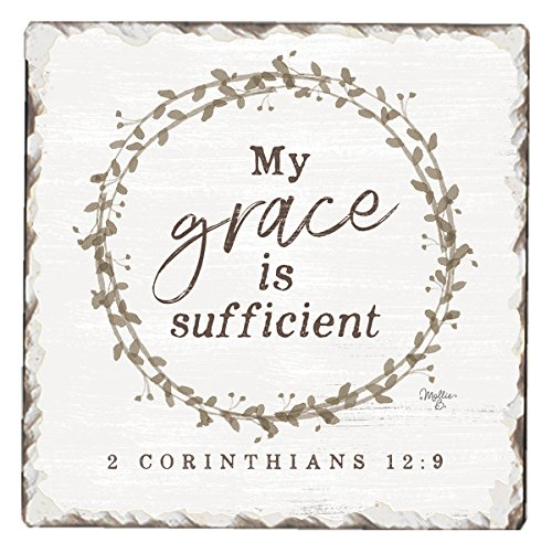 CounterArt Single Tumbled Tile Absorbent Coaster, My Grace Is Sufficient ()