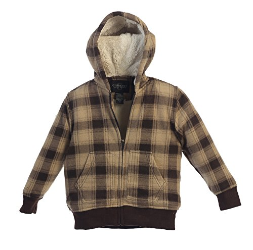 (Gioberti Boys Checkered Flannel Hoodie Jacket with Sherpa Lining, Brown, Size 14)