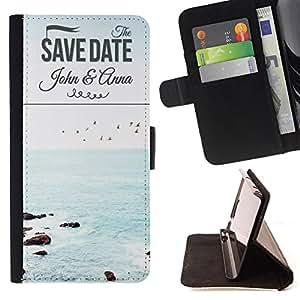 Dragon Case - FOR Sony Xperia M2 - save date - Caja de la carpeta del caso en folio de cuero del tir¨®n de la cubierta protectora Shell