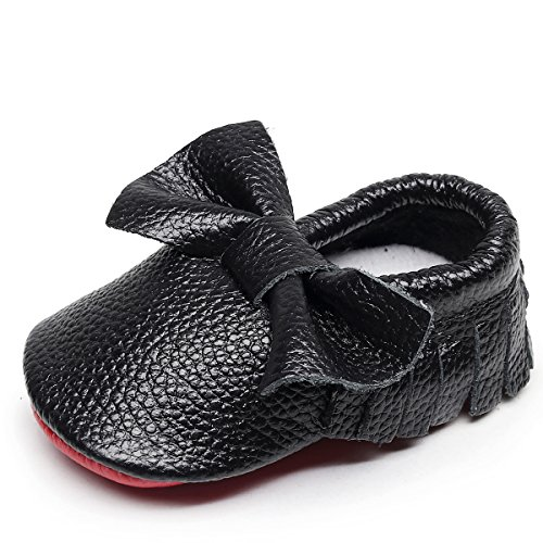 HONGTEYA Red Bottoms Baby Moccasins - Premium Soft Sole Fringe Bow Leather Boys and Girls Shoes for Infant Toddlers(3-6 Months/US 4/4.53''/ See Size Chart,Black)