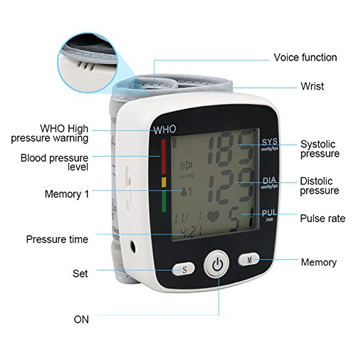 Blood Pressure Monitor Wrist Digital USB Rechargeable Fully Automatic Measure Blood Pressure and Pulse for Home Travel use, 2 User Modes (2 x 99 Memory), Large LCD Display