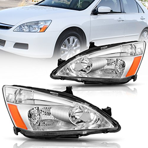 Headlight Assembly for 2003 2004 2005 2006 2007 Honda Accord Replacement Headlamp,Chrome housing Clear Lens,One-Year Limited Warranty(Passenger And Driver (Honda Accord Chrome Housing)