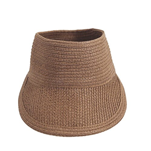 - EUBUY Women's Summer Leisure Foldable Topless Wide Brim Visor Sun Hat Peak Cap Baseball Cap Coffee