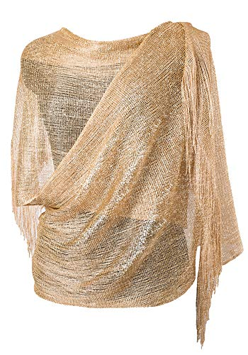 (MissShorthair Womens Wedding Evening Wrap Shawl Glitter Metallic Prom Party Scarf with Fringe(Champagne Gold))