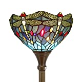 Tiffany Style Torchiere Light Floor Standing Lamp Wide 12 Tall 66 Inch Blue Stained Glass Crystal Bead Dragonfly Lampshade for Living Room Bedroom Antique Table Set S529 WERFACTORY