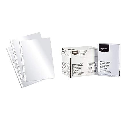 Plus Office EH303A-8/FC - Fundas multitaladro folio-cristal, 90 micras, 100 unidades, transparente & AmazonBasics Papel multiusos para impresora A4 ...