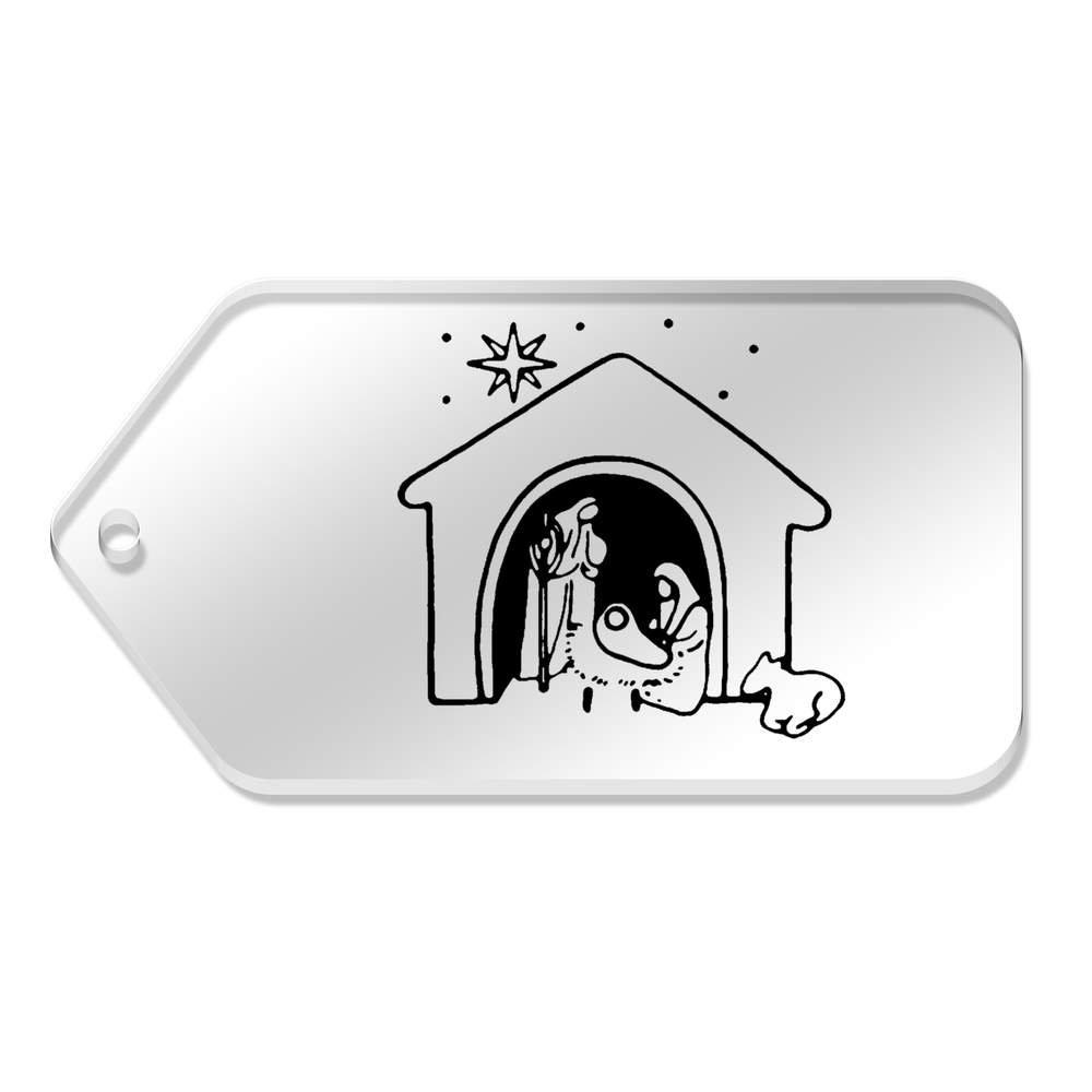 10 x Large 'Nativity Scene' Clear Gift Tags (TG00068464) Azeeda