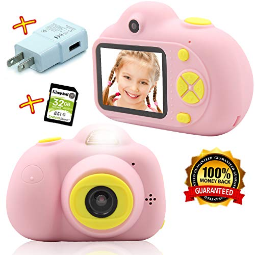 Mini Dual Digital Camera Gift for 3-10 Years Old Kids on Birthday, Best Rechargeable Shockproof Photography Toy, Girls&Boys-Baby&Children, 32 GB Card, Pink/Blue Soft Silicone Shell, Instant Film&Photo