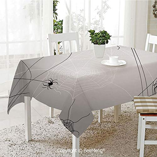 BeeMeng Dining Kitchen Polyester dust-Proof Table Cover,Spider Web,Spiders Hanging from Webs Halloween Inspired Design Dangerous Cartoon Icon Decorative,Grey Black White,Rectangular,59 x 59 inches