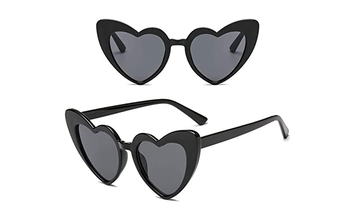 e5959bcfeda48 Unisex Vintage style Heart Sunglasses Super Cat Eye Triangle Retro Womens  Mens Cobain Jackie O Clout