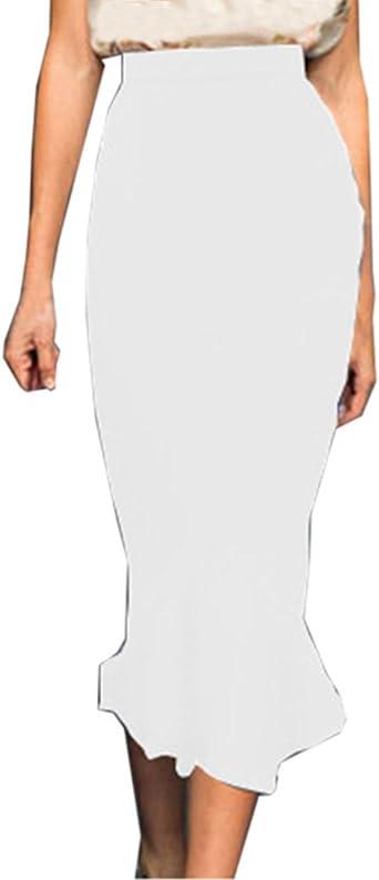 Guiran Jupe Crayon Moulante Jupe Elégant Jupe Elastique Sirène Longue Jupe Taille Haute Bodycon
