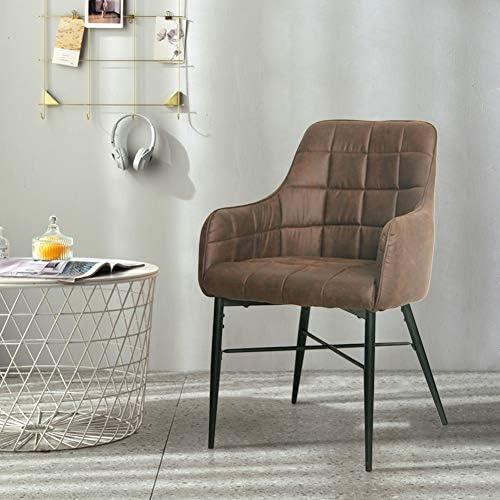 SHINAWOOD Esszimmerstühle 2er Set Retro Sessel PU Leder Esszimmer Stühle mit Metallbeine Küchenstühle Wohnzimmer Esszimmer Möbel BraunGrau (Braun 2er