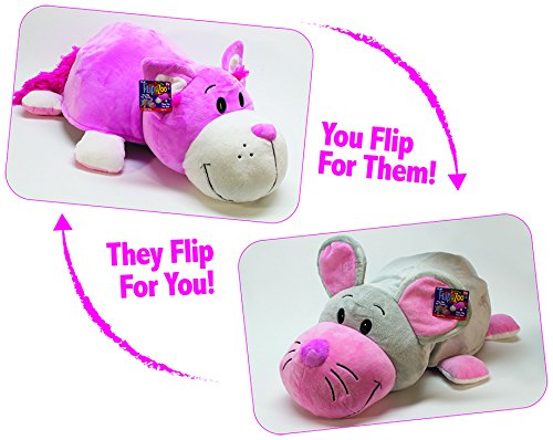 FlipaZoo Jumbo (Mouse to Pink Cat – 24in) by Jay at Play – Transforming Plush Toy is Not Your Average Stuffed Animal – 2-in-1 Toy Gives Kids Two Exciting Character Choices with Just a Flip