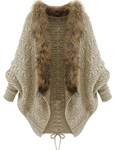 (Papijam Women's Batwing Sleeve Thick Winter Faux Fur Cloak Cardigan Beige Free Size )