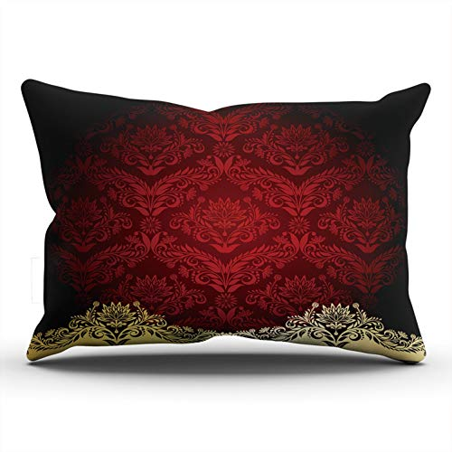 (Hoooottle Custom Red with Gold Flowers and Leaves Decorative Pillowcase Throw Pillow Case Cover Zippered King One Side Printed 20x36 Inches)