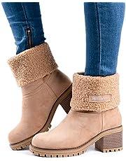 Botas Mujer Invierno Tacon Forrado Calentar Botas Altas Botines Moda Casual Outdoor Zapatos de Nieve Snow Boots 6 cm Negro Marrón Caqui 35-43 Amarillo 39
